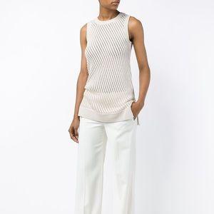 Vince Women's Natural Mesh Stitch Cotton Tank Top